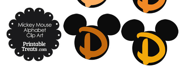 Orange Mickey Mouse Head Letter D Clipart