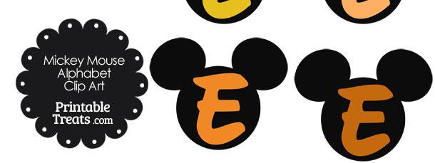 Orange Mickey Mouse Head Letter E Clipart