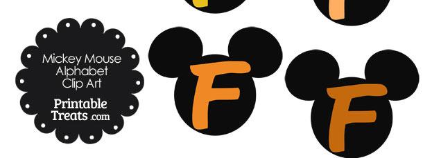 Orange Mickey Mouse Head Letter F Clipart