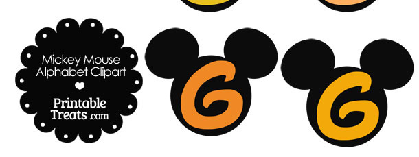Orange Mickey Mouse Head Letter G Clipart