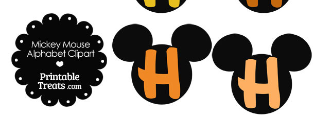 Orange Mickey Mouse Head Letter H Clipart