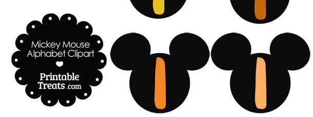 Orange Mickey Mouse Head Letter I Clipart