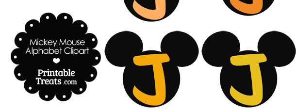 Orange Mickey Mouse Head Letter J Clipart