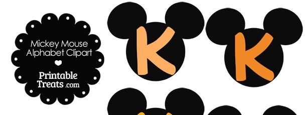 Orange Mickey Mouse Head Letter K Clipart