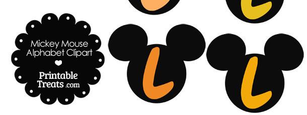 Orange Mickey Mouse Head Letter L Clipart