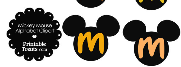 Orange Mickey Mouse Head Letter M Clipart