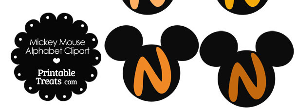 Orange Mickey Mouse Head Letter N Clipart