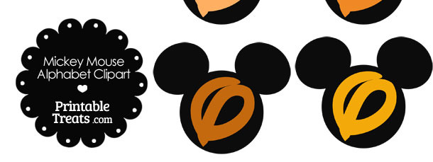 Orange Mickey Mouse Head Letter O Clipart