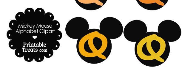 Orange Mickey Mouse Head Letter Q Clipart