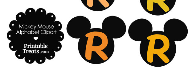 Orange Mickey Mouse Head Letter R Clipart