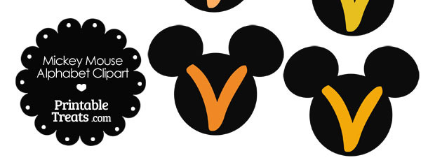 Orange Mickey Mouse Head Letter V Clipart
