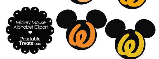 Orange Mickey Mouse Head Letter W Clipart