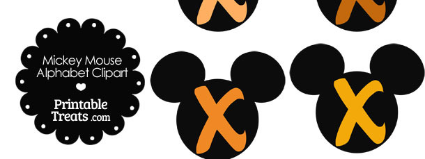 Orange Mickey Mouse Head Letter X Clipart