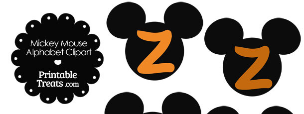 Orange Mickey Mouse Head Letter Z Clipart