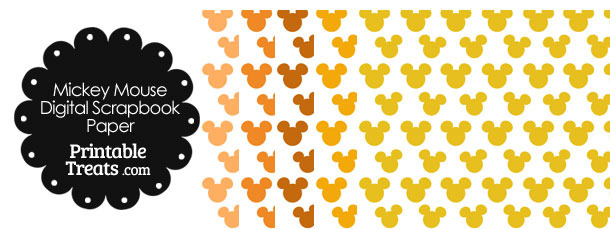 Orange Mickey Mouse Head Scrapbook Paper