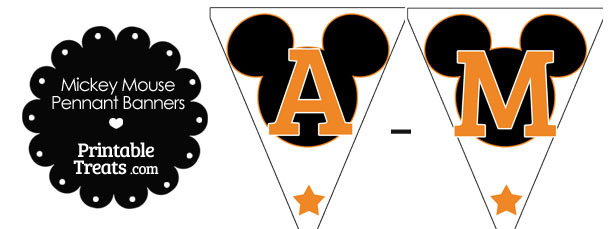 Orange Mickey Mouse Pennant Banner Letters A-M