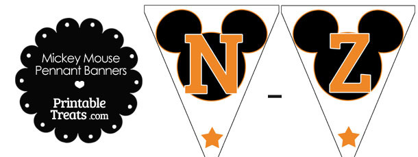 Orange Mickey Mouse Pennant Banner Letters N-Z