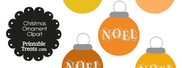 Orange Noel Christmas Ornament Clipart