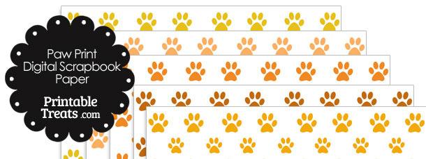 Orange Paw Print Digital Scrapbook Paper