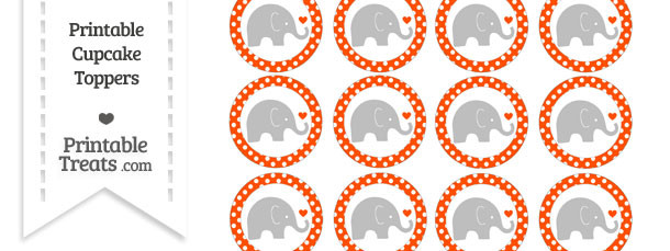 Orange Polka Dot Baby Elephant Cupcake Toppers