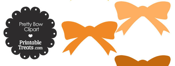 Orange Pretty Bow Clipart