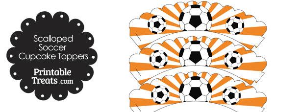 Orange Scalloped Sunburst Soccer Cupcake Wrappers