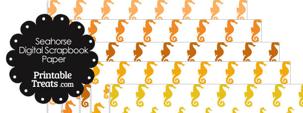 Orange Seahorse Digital Scrapbook Paper