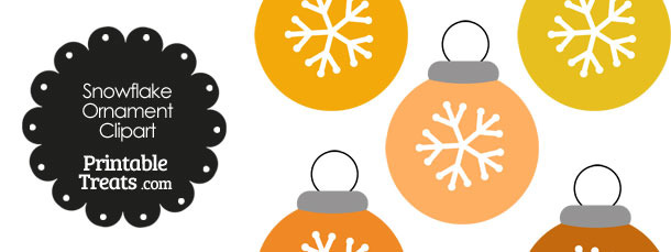 Orange Snowflake Ornament Clipart