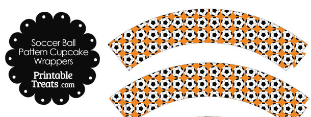Orange Soccer Ball Pattern Cupcake Wrappers