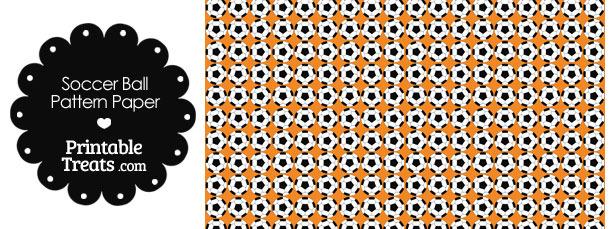 Orange Soccer Ball Pattern Digital Scrapbook Paper