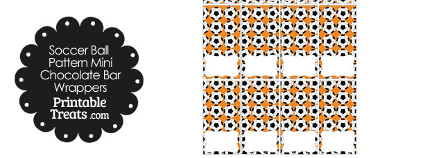 Orange Soccer Ball Pattern Mini Chocolate Bar Wrappers