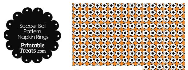 Orange Soccer Ball Pattern Napkin Rings