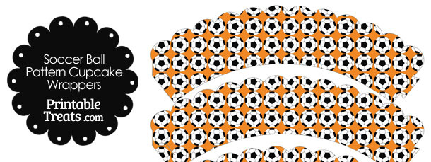 Orange Soccer Ball Pattern Scalloped Cupcake Wrappers