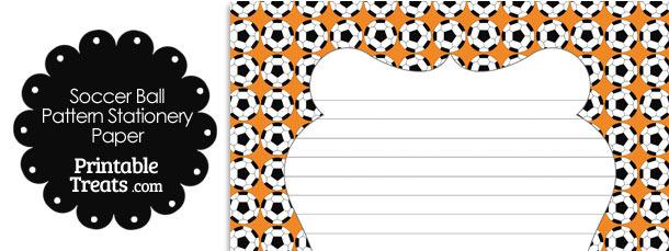 Orange Soccer Ball Pattern Stationery Paper