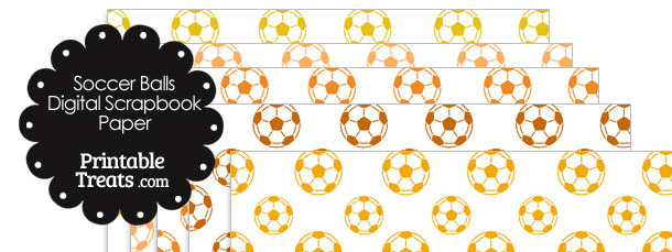 Orange Soccer Digital Scrapbooking Paper