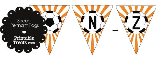 Orange Soccer Party Flag Letters N-Z