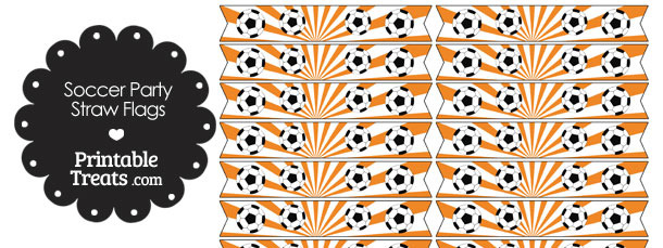 Orange Soccer Party Straw Flags