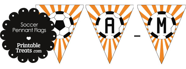 Orange Soccer Pennant Banner Flag Letters A-M