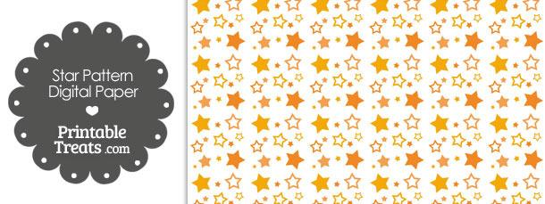 Orange Star Pattern Digital Scrapbook Paper