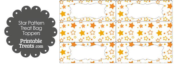 Orange Star Pattern Treat Bag Toppers