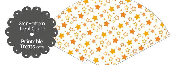 Orange Star Pattern Treat Cone
