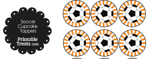 Orange Sunburst Soccer Cupcake Toppers