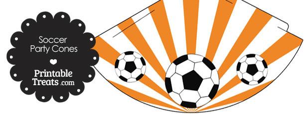 Orange Sunburst Soccer Party Cones