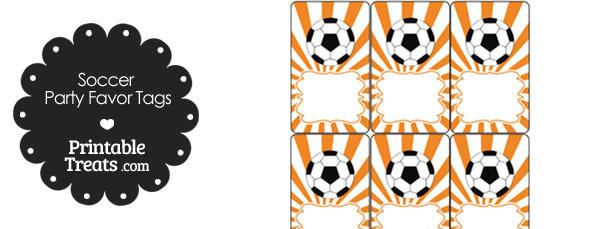Orange Sunburst Soccer Party Favor Tags