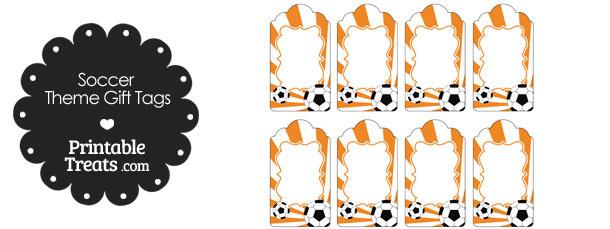 Orange Sunburst Soccer Party Gift Tags