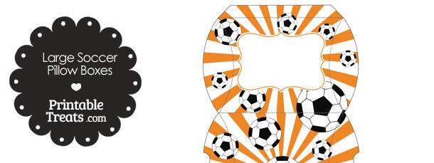 Orange Sunburst Soccer Party Large Pillow Boxes