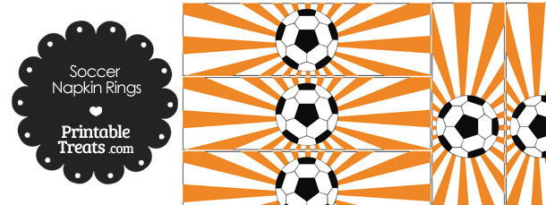 Orange Sunburst Soccer Party Napkin Rings