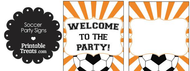 Orange Sunburst Soccer Party Signs
