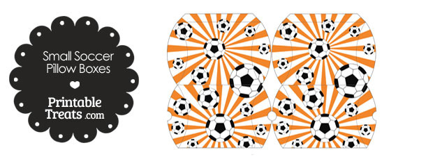 Orange Sunburst Soccer Party Small Pillow Boxes