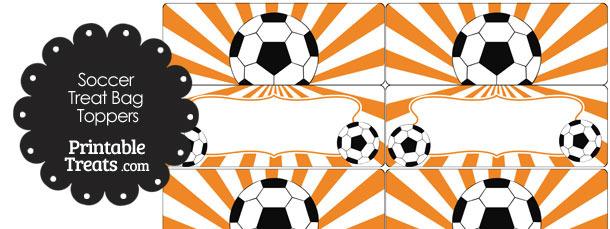 Orange Sunburst Soccer Treat Bag Toppers